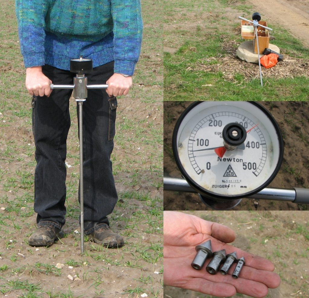 A four-panel image showing a person using a handheld penetrometer on the left, the penetrometer and related tools on the top-right, the analog dial from the penetrometer with units of Newtons in the center-right, and four cone tips for the penetrometer descending in size and in an open hand. Handheld penetrometers consist of a steel shaft with a cone at the tip. The shaft has a T-handel at the top for the user to grip and force the penetrometer in the soil. A force meter at the top of the device where the T-handle meets the shaft measures the force needed to exert to force the tips through the soil.