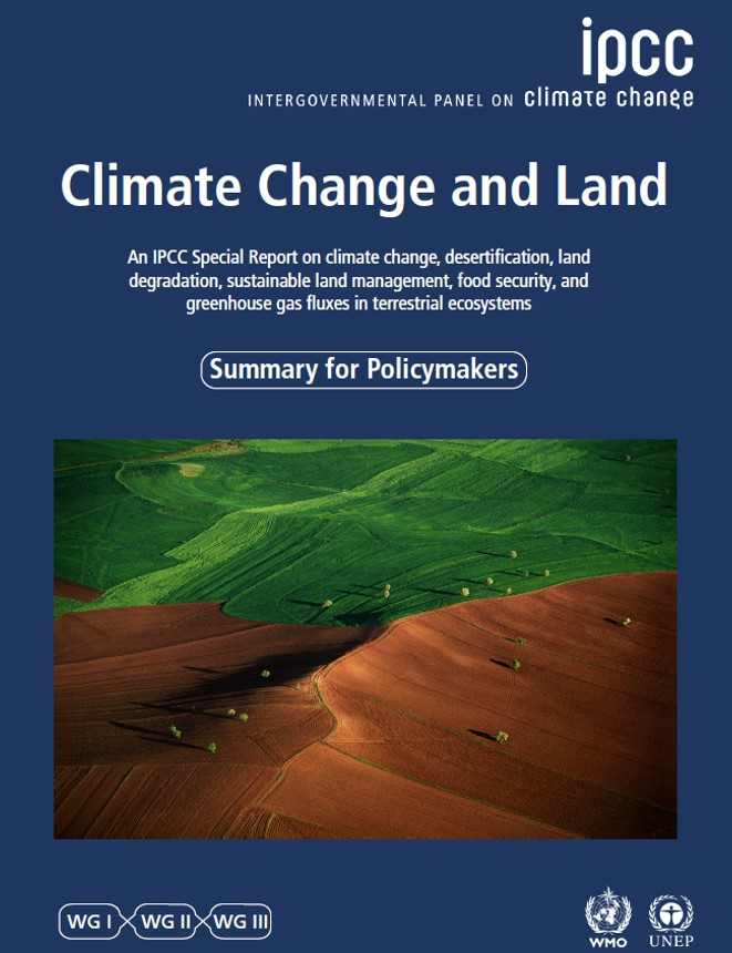 Cover of the IPCC Report, Climate Change and Land