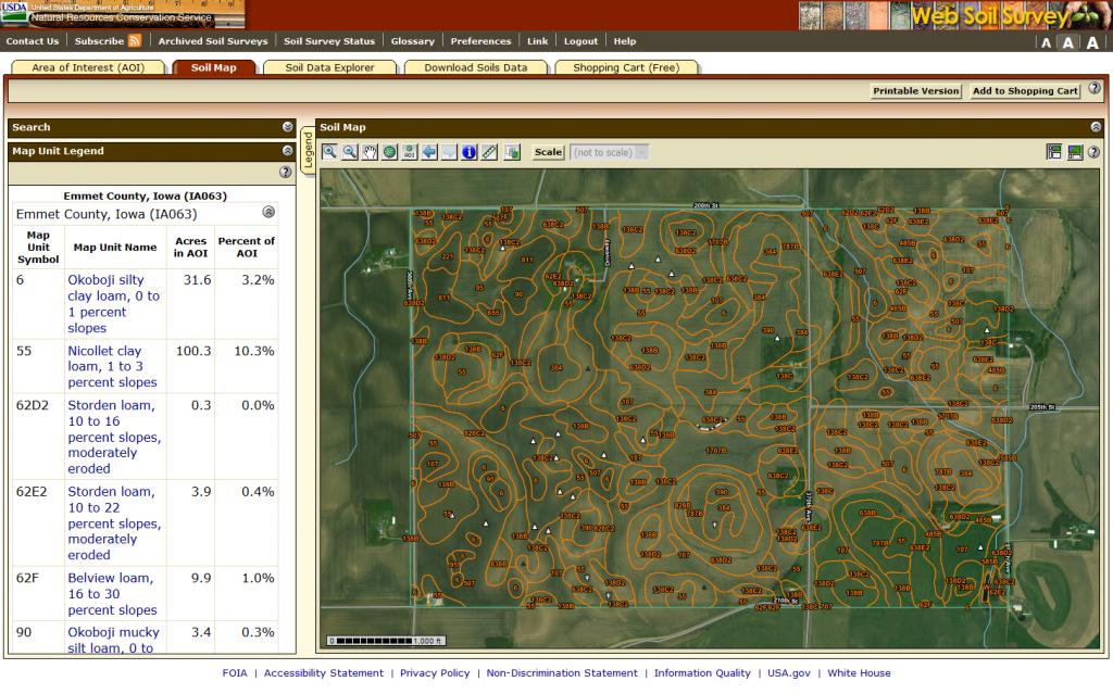 A screenshot of the Web Soil Survey web app