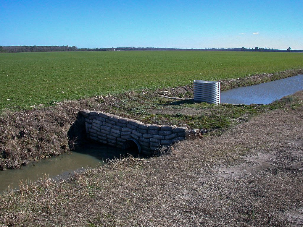 A water control structure in a ditch