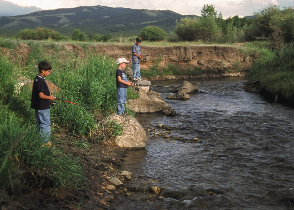 Three boys fish from the edge of a stream.