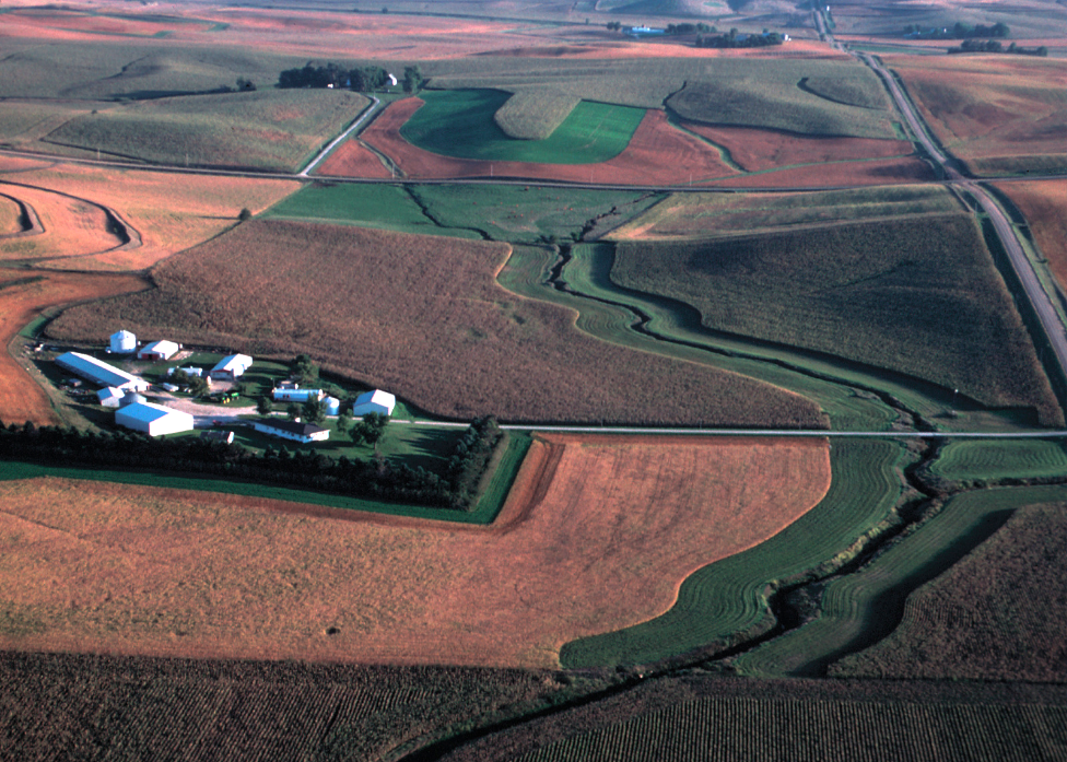 A photo taken from an airplane overlooking a stream lined with grassed filter strips surrounded by row crop fields and farmsteads.