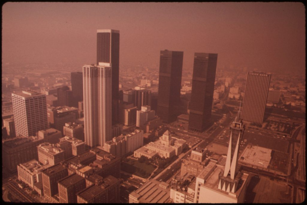 Smog over the Los Angeles skyline in 1973