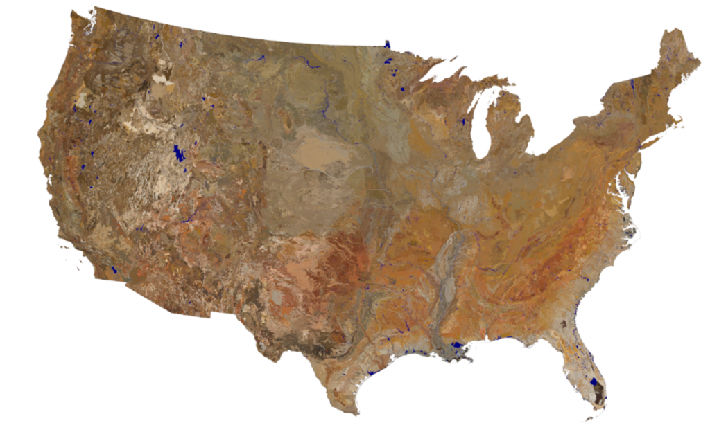 Map of soil colors of the continental US
