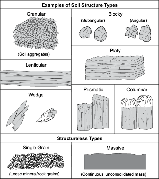 Diagrams of soil structure types