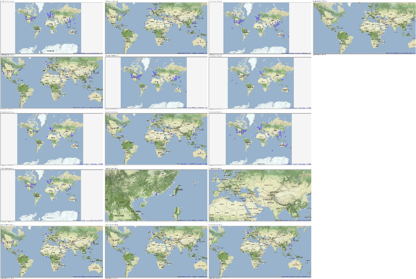 Locational Maps of Social Networks of Respective Twitter Accounts