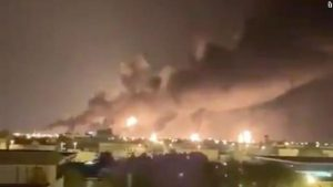 Shows A haze of smoke is seen from the attacked oil plant in Saudi Arabia